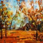 Картина маслом-Осень золотая_холст, масло,30х40_Елена Жигилевич