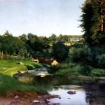 Деревня на берегу речки_известные картины_Крыжицкий-minКартина-