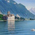 Картина на заказ-Le cygne et le Château de Chillon