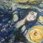 Осень. Королева ночи, картон, масло,муранское стекло, 35х50, Марго Пугаченко