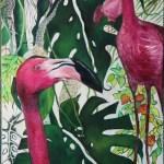 Фламинго,холст,масло, 40х50, Ксения Чащина