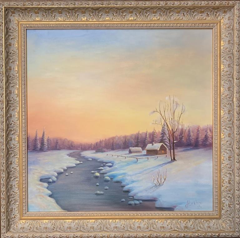 Анастасия Алёхина - Зимний пейзаж, холст, масло, 45х45, 2019 год.