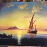 Неаполитанский залив-Вольная копия Айвазовского, холст, масло, 92х141, 2016 г. -Анастасия Алёхина