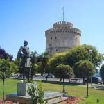 Памятник греческому воину.Белая башня