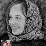 Портрет девушки в платке, бумага, карандаш, 20х30, 2019 г.-