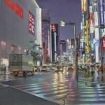 A monsoon night on Shinjuku at Tokyo бумага,акварель, 40х52 - Тьерри Дюваль