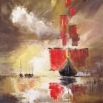 ПЗС - Алые паруса, масло, холст 45х35, смешанная техника, Богдана Чиликина