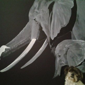 """""""Symbiosis"""" (work in progress) Airbrush 4' x 6' wall mural Art by: Anh Pham Art supplies by: usartsupply.com"""