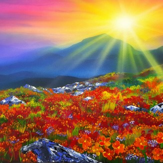 """""""Sunrise Forever"""" Airbrush and Acrylics 20"""" x 24"""" Canvas Art by: Anh Pham Art supplies by: usartsupply.com"""