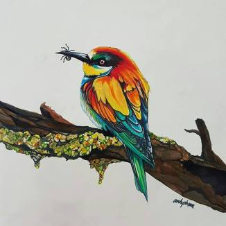 """""""Bee Eater"""" Super Markers 11"""" x !4"""" Marker Paper Art by: Anh Pham Art supplies by: usartsupply.com"""