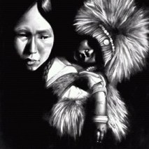 """Athapascan mother and child"" Graphite Pencils 20"" x 24"" Illustration board Art by: Anh Pham Art supplies by: usartsupply.com"