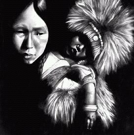 """""""Athapascan mother and child"""" Graphite Pencils 20"""" x 24"""" Illustration board Art by: Anh Pham Art supplies by: usartsupply.com"""