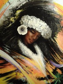 """Tahitian Dancer 3"" Airbrush/Watercolor/Colored pencil 10"" x 14"" Gesso wood Art by: Anh Pham Art supplies by: usartsupply.com"