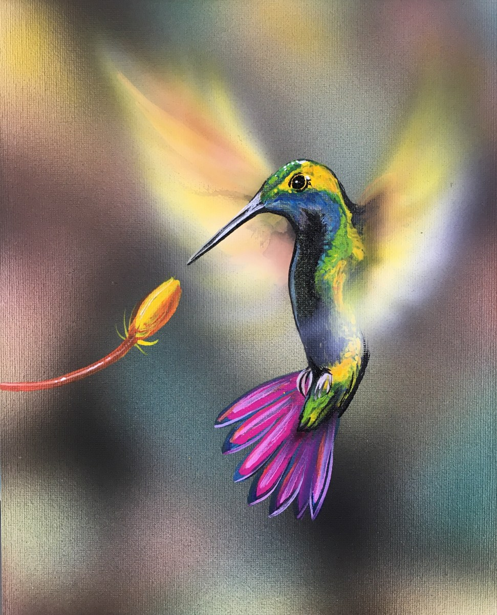 Time Lapse painting of a Hummingbird using the Bokeh
