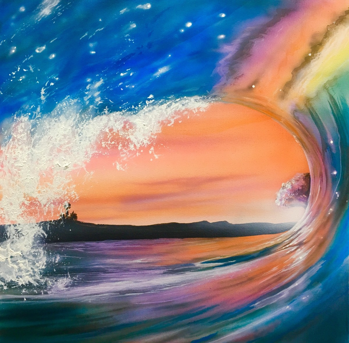 Airbrushing Waves on Canvas