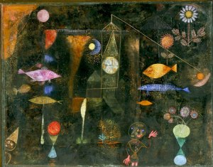Fish Magic -- oil & watercolor on canvas mounted on panel 30 3/8 x 38 3/4 in Paul Klee 1925