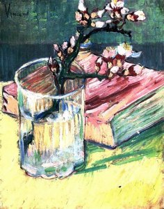 Blossoming Almond Branch in a Glass with a Book -- oil on canvas, 1888 Vincent van Gogh Private collection, Japan