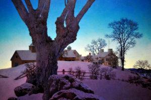 Maxfield Parrish - Hill Top Farm, Winter, 1949