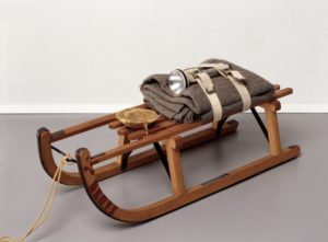 Schlitten (Sled), 1969 wooden sled, felt, fabric straps, flashlight, fat, oil paint, string by Joseph Beuys