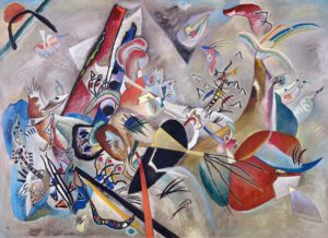 In Grey (1919) 50.8 × 69.3 inches oil on canvas by Wassily Kandinsky