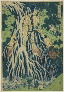 "Kirifuri Falls at Mount Kurokami in Shimotsuke Province, from the series ""A Tour of Waterfalls in Various Provinces, c. 1933 1828–1838 Medium Color woodblock print; oban 15 x 10 inches by Katsushika Hokusai"