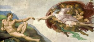 "The Creation of Adam, c. 1512 fresco, 9' 2"" × 18' 8"" by Michelangelo"