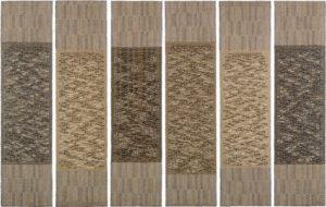 Six Prayers, 1966–67 cotton, linen bast, silver lurex 186 × 48.9 cm each panel by Anni Albers (1899-1994)