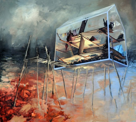 Honey Im home she said. The wind turned its mouth up at the corners_Oil on canvas_ 45inx48in_2011
