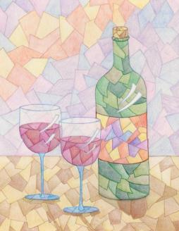 """Wine for Two"" 11x14"" Colored Pencil on Bristol $85"