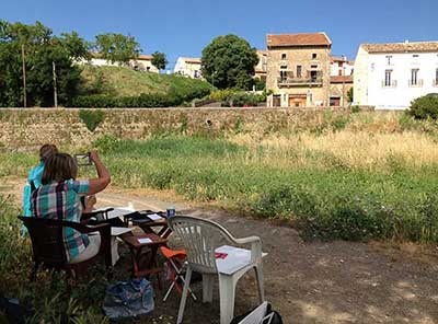 learn to paint in France on the river bank