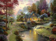Thomas Kinkade Stillwater Cottage painting - Stillwater ...