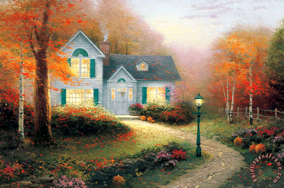 Facebook Wallpaper Fall Colors Thomas Kinkade The Blessings Of Autumn Painting The