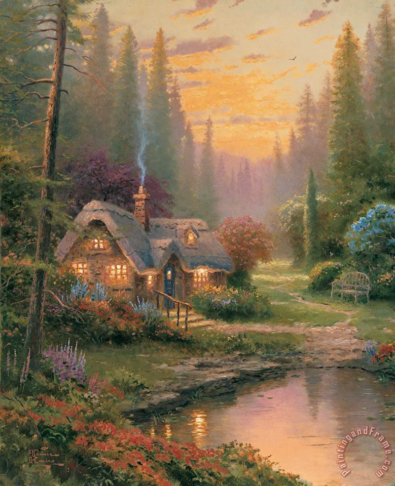Pictures Of Thomas Kinkade Paintings : pictures, thomas, kinkade, paintings, Thomas, Kinkade, Meadowood, Cottage, Painting, Print