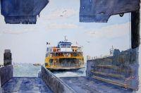 Anthony Butera Staten Island Ferry Docking painting