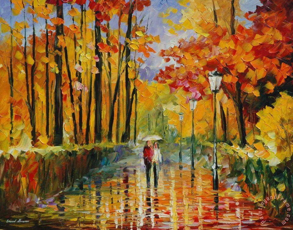 Rain Fall Live Wallpaper Leonid Afremov Autumn Rain Painting Autumn Rain Print