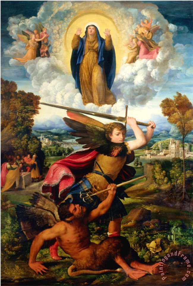 Archangel Michael Hd Wallpaper Dosso Dossi Saint Michael With The Devil And Our Lady Of