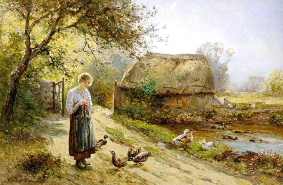 Image result for paintings and artwork river and chickens