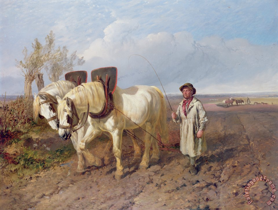 The Harrowing Team painting - John Frederick Herring Snr The Harrowing ...