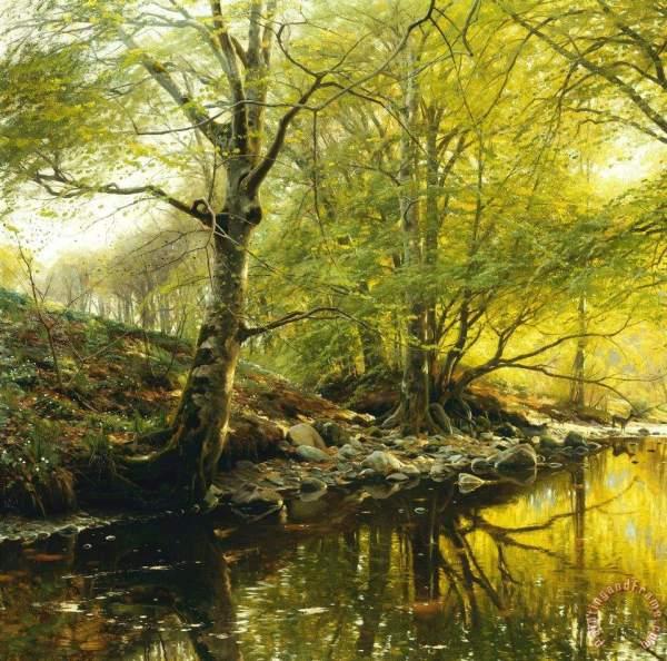 Peder Monsted Wooded River Landscape Painting - Print