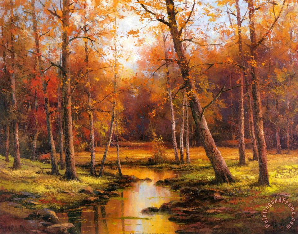 Fall Leaves Watercolor Wallpaper T C Chiu Meadow Stream Painting Meadow Stream Print