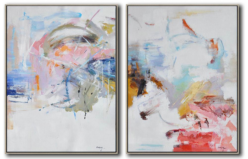 Original Abstract Painting Extra Large Canvas Art,Set Of 2