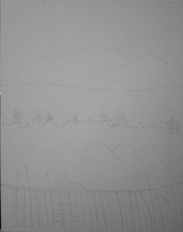 Drawing Smooth Lines Canvas : Painting a semi abstract mountain with acrylics