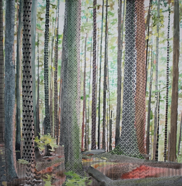 Rainforest imagery, watercolor and zentangles on paper mounted on board