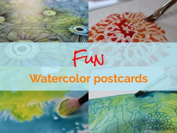 Fun techniques you can try to make watercolor and mixed media postcards
