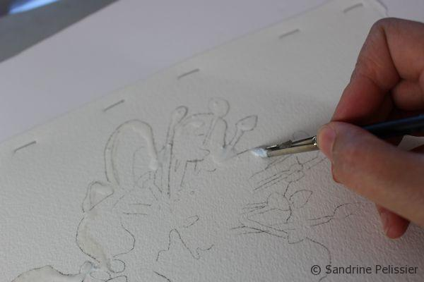 drawing and masking fluid.