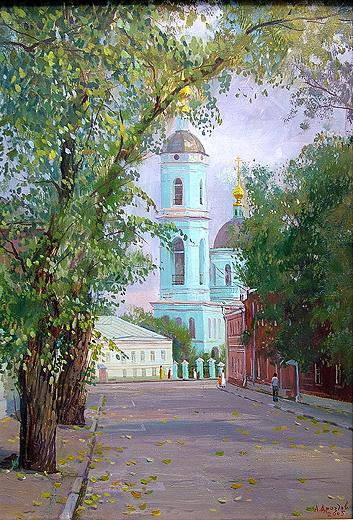 View of Sergiy Radonezhskiy Temple architecture - oil painting