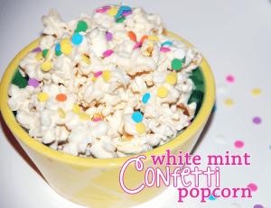 White MInt Confetti Popcorn