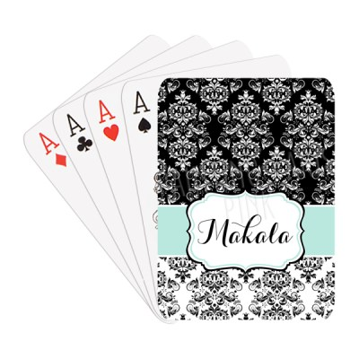 Black and White Damask Playing Cards