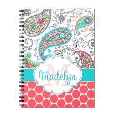 Paisley and Polka Dots Spiral Journal