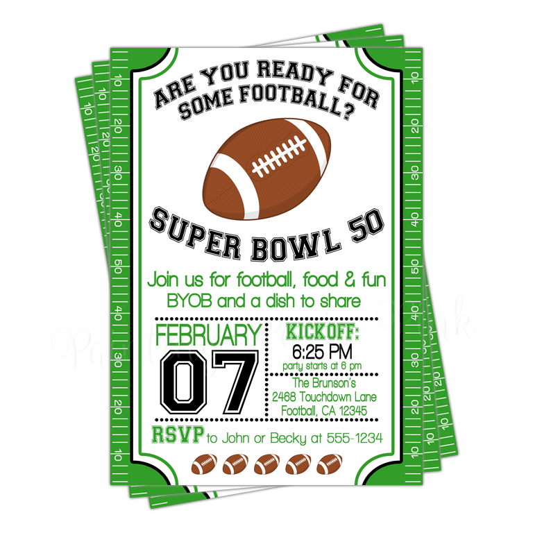 Football Field Birthday or SuperBowl Party Invitation